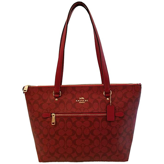 COACH Crossgrain Leather Gallery Tote 1941 Red Outlet