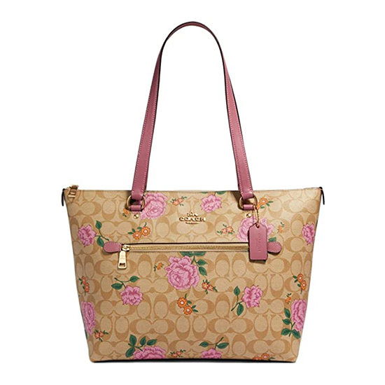 COACH Crossgrain Leather Gallery Tote Pink Outlet