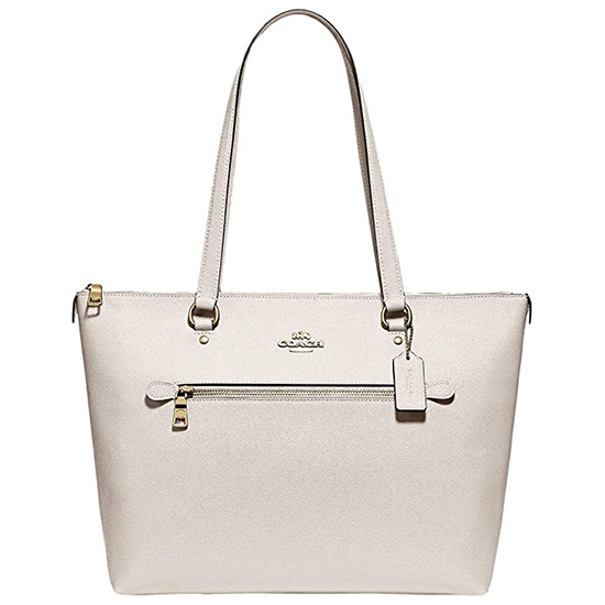 COACH Crossgrain Leather Gallery Tote Chalk Outlet
