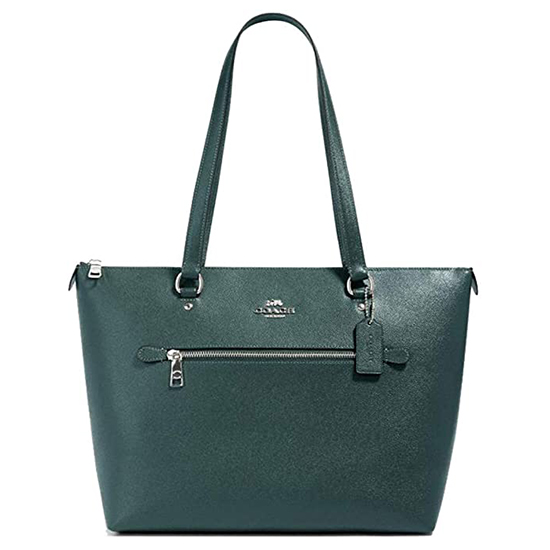 COACH Crossgrain Leather Gallery Tote Dark Ivy Outlet