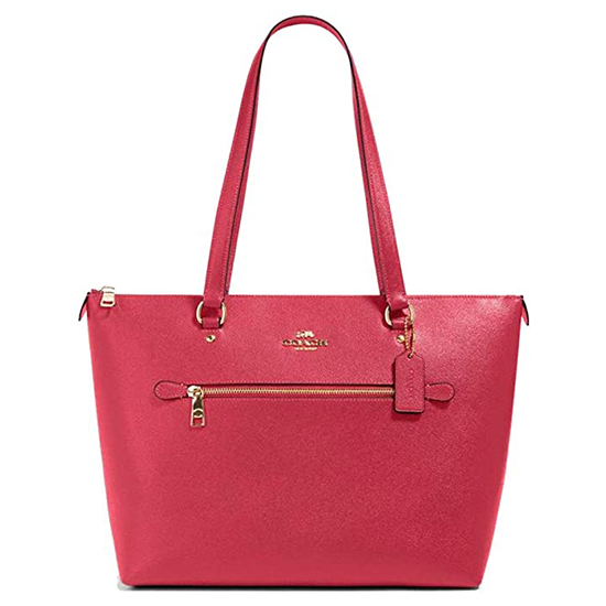 COACH Crossgrain Leather Gallery Tote Electric Pink Outlet