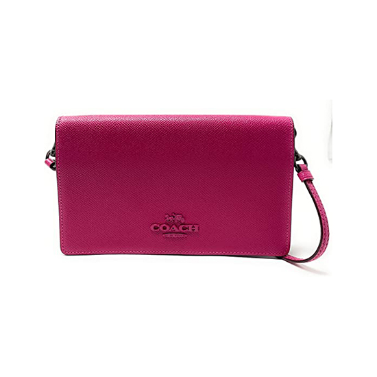 Coach Foldover Clutch Crossbody Bag Pewter/Cerise Outlet