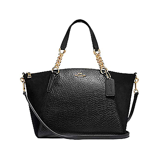 COACH Pebbled Leather Small Kelsey Satchel Black - Chain Satchel Outlet