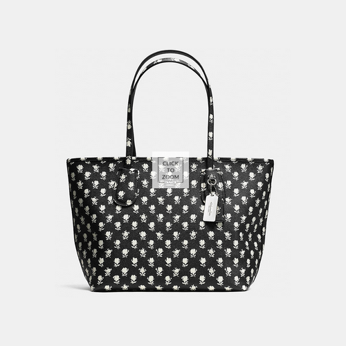 Coach Outlet Store & COACH PRINT crossgrain new taxi zip tote SILVER/BLACK PARCHMENT BADLANDS FLORA