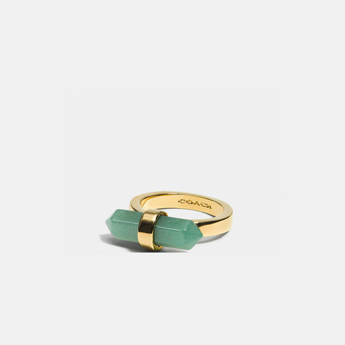 Coach Outlet Store & COACH AMULET ring GOLD/PALE GREEN