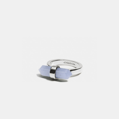 Coach Outlet Store & COACH AMULET ring SILVER/PALE BLUE
