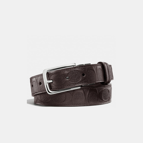 Coach USA Store & COACH DRESS weston cut-to-size signature c crossgrain leather reversible belt MAHOGANY/MAHOGANY