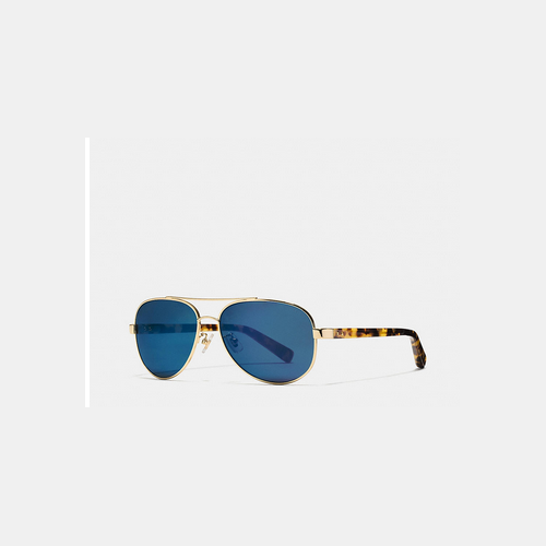 Coach USA Store & COACH THOMPSON sunglasses GOLD TOKTORTOISE BLUE