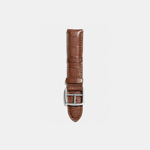 Coach USA Store & COACH BLEECKER watch strap in crocodile BROWN