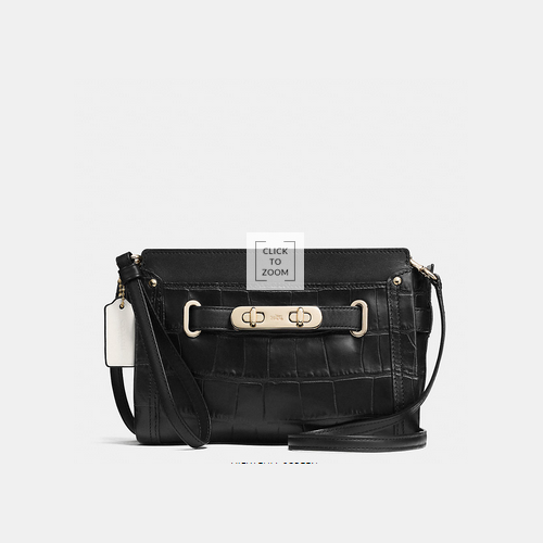 Coach USA Store & COACH swagger wristlet LIGHT GOLD/BLACK