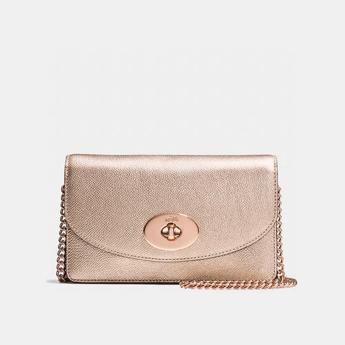 Coach USA Store & COACH CLUTCH wallet with chain ROSE GOLD/ROSE GOLD
