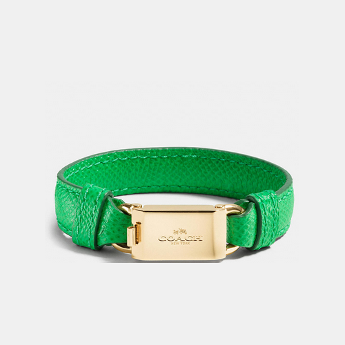 Coach USA Store & COACH LEATHER horse and carriage id bracelet GOLD/GREEN