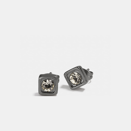 Coach USA Store & COACH pave square stud earrings BLACK
