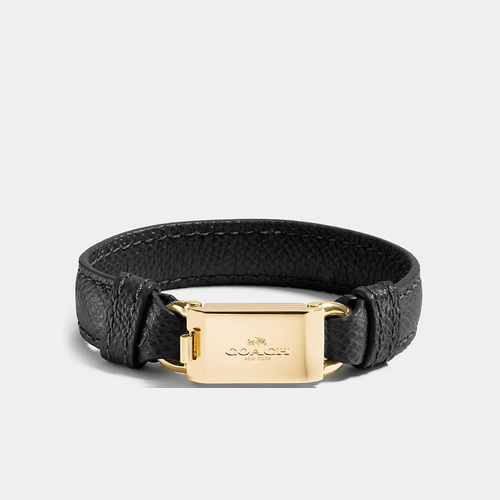 Coach USA Store & COACH LEATHER horse and carriage id bracelet GOLD/BLACK