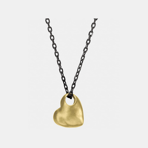 Coach USA Store & COACH SCULPTED heart pendant necklace GOLD/BLACK