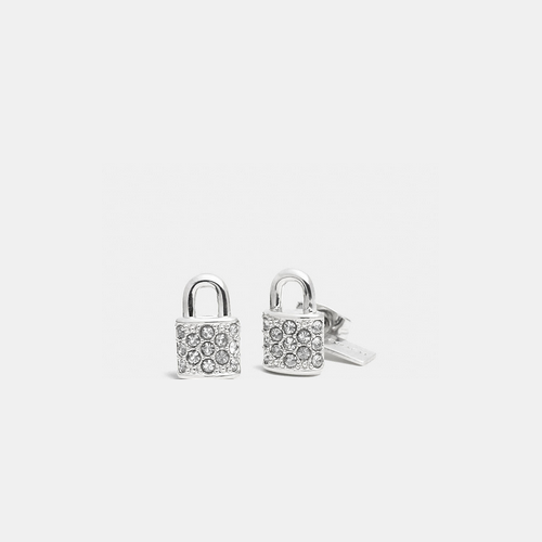 Coach USA Store & COACH PAVE padlock stud earrings SILVER