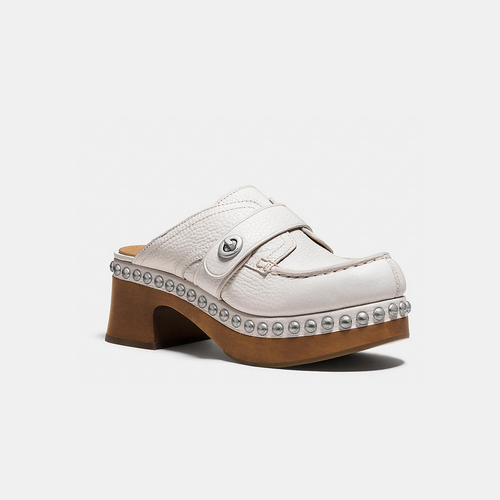 Coach USA Store & COACH TURNLOCK mid-heel clog with rivets CREAM