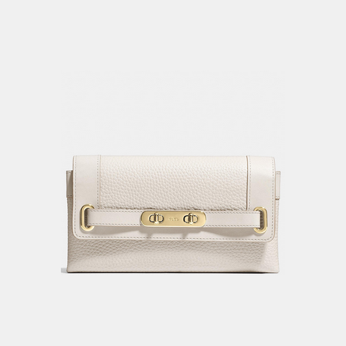 Coach USA Store & COACH swagger wallet LIGHT GOLD/CHALK