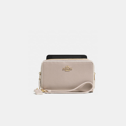 Coach USA Store & COACH DOUBLE zip phone wallet LIGHT GOLD/GREY BIRCH/CHALK