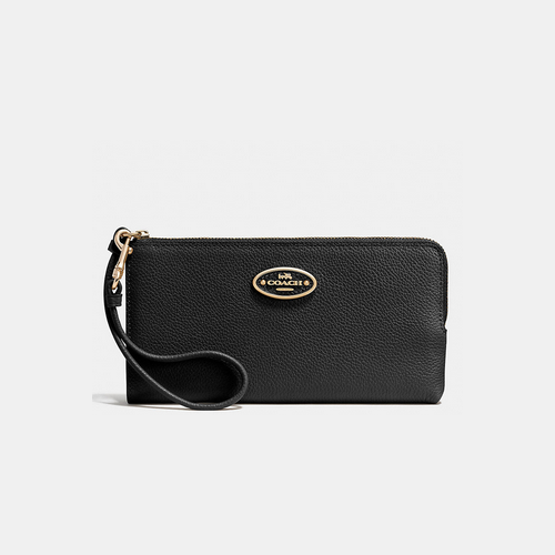 Coach USA Store & COACH L-ZIP wallet LIGHT GOLD/BLACK