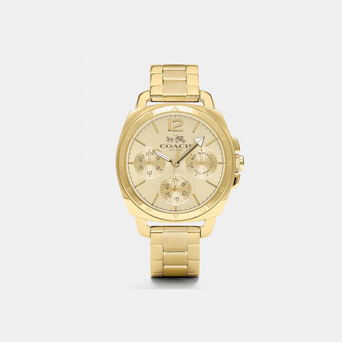 Coach USA Store & COACH BOYFRIEND 38mm gold plated multifunction bracelet watch GOLD PLATED