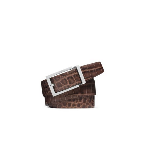 MICHAEL KORS MEN Reversible Embossed-Leather Belt BLACK/BROWN