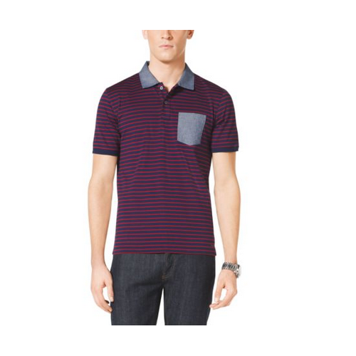MICHAEL KORS MEN Pocket-Front Striped Cotton Polo Shirt INDIGO