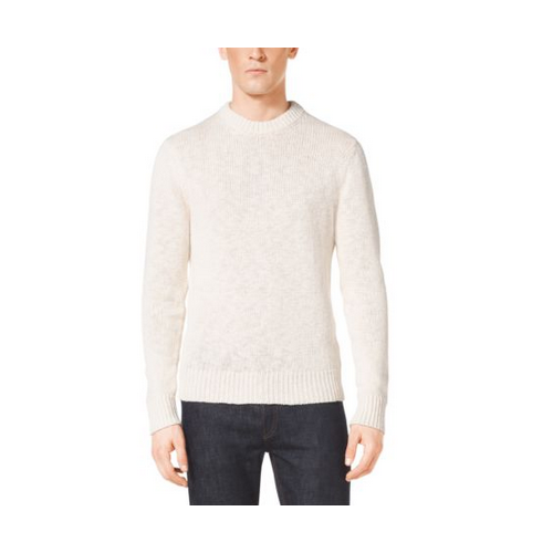 MICHAEL KORS MEN Slub Linen And Cotton Crewneck Sweater MUSLIN