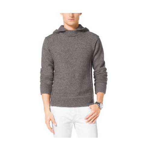 MICHAEL KORS MEN Hooded Wool-Blend Sweater CONCRETE