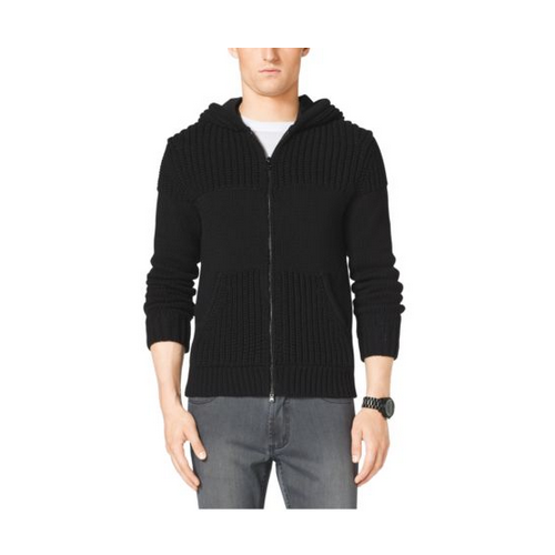 MICHAEL KORS MEN Contrast-Knit Cotton Hoodie BLACK