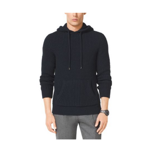 MICHAEL KORS MEN Mixed-Knit Wool-Blend Hoodie MIDNIGHT