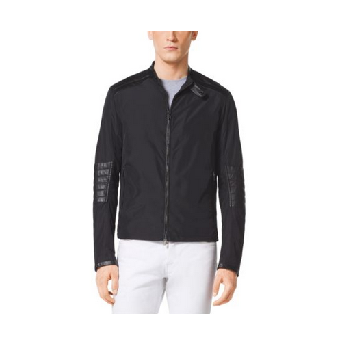 MICHAEL KORS MEN Quilted Leather And Nylon Jacket BLACK