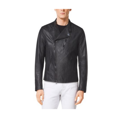 MICHAEL KORS MEN Leather Moto Jacket BLACK