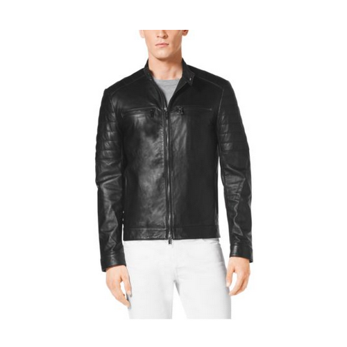 MICHAEL KORS MEN Zip-Front Leather Jacket BLACK