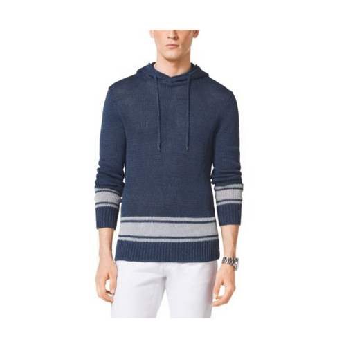 MICHAEL KORS MEN Striped-Trim Linen Hoodie ATLANTIC BLUE