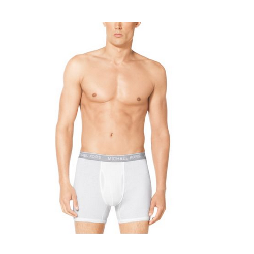 MICHAEL KORS MEN Logo-Band Cotton-Modal Boxer Brief WHITE