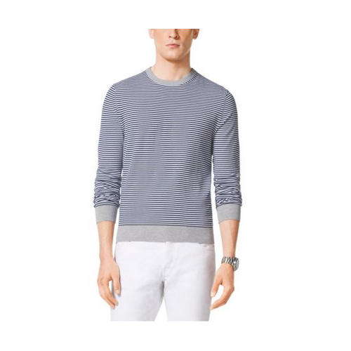 MICHAEL KORS MEN Striped Cotton Crewneck Sweater ATLANTIC BLUE