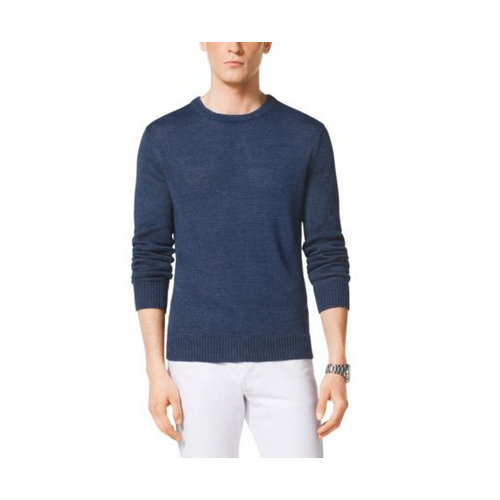 MICHAEL KORS MEN Linen Crewneck Sweater ATLANTIC BLUE