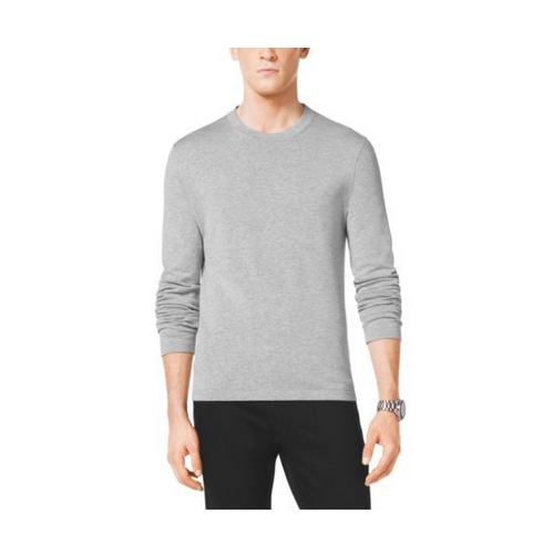 MICHAEL KORS MEN Long-Sleeved Cotton Crewneck Sweater HEATHER GREY