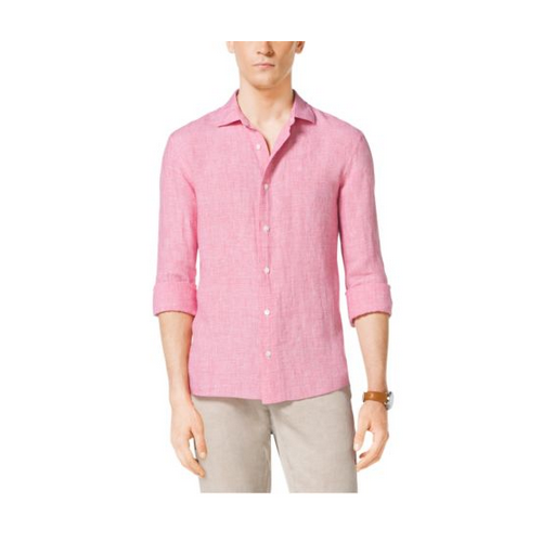 MICHAEL KORS MEN Tailored-Fit Houndstooth Linen Shirt GUAVA