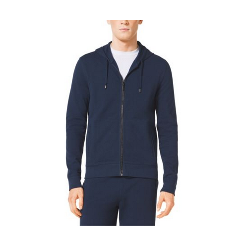 MICHAEL KORS MEN Full-Zip Hooded Cotton Sweatshirt ATLANTIC BLUE