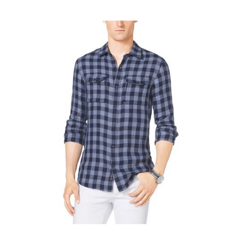 MICHAEL KORS MEN Tailored Gingham Cotton Shirt NAVY