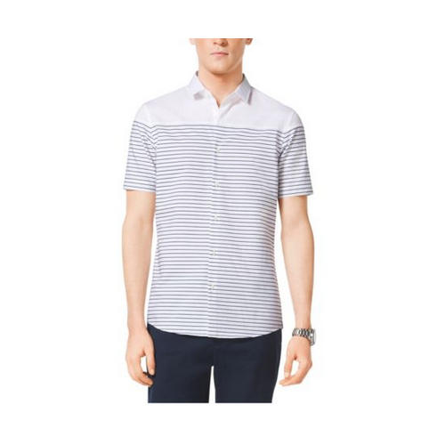 MICHAEL KORS MEN Slim-Fit Striped Cotton Shirt NAVY