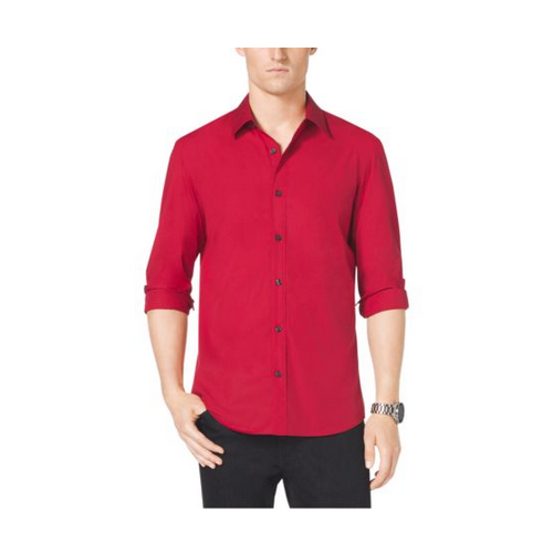 MICHAEL KORS MEN Tailored-Fit Stretch-Cotton Shirt VIBRANT RED