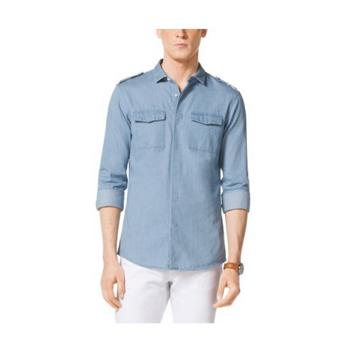MICHAEL KORS MEN Slim-Fit Two-Pocket Cotton Shirt LIGHT INDIGO WASH