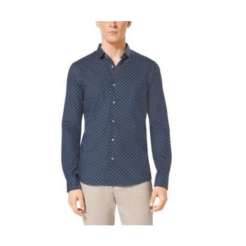 MICHAEL KORS MEN Slim-Fit Printed Cotton Shirt ATLANTIC BLUE