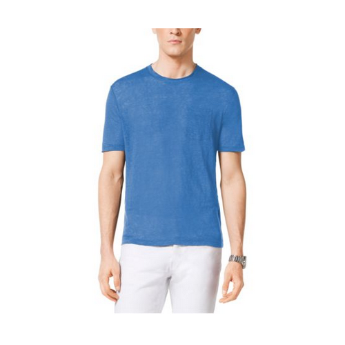 MICHAEL KORS MEN Linen Crewneck T-Shirt OCEAN