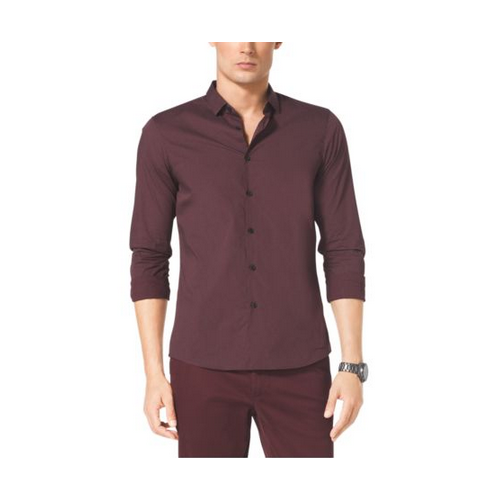 MICHAEL KORS MEN Slim-Fit Dot-Print Cotton Shirt BORDEAUX