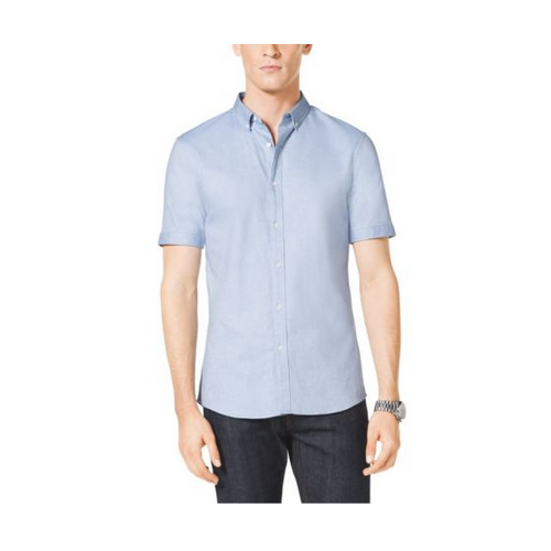 MICHAEL KORS MEN Short-Sleeved Cotton Oxford Shirt CRYSTAL