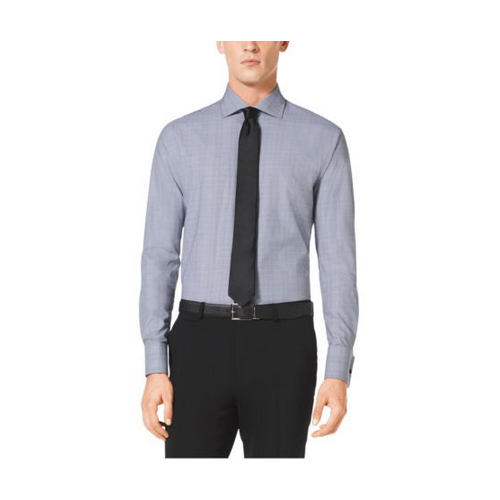 MICHAEL KORS MEN Spread-Collar Cotton Shirt GREY MULTI